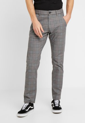 PRINT CHECK CHIN - Trousers - grey