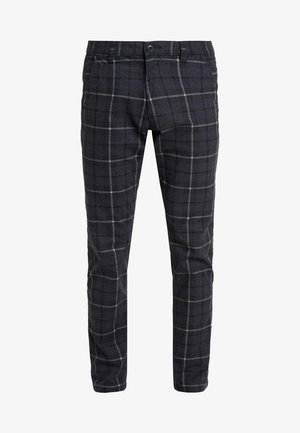 PRINT CHECK CHIN - Trousers - dark blue