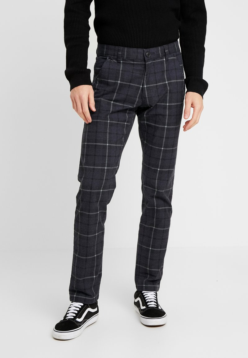 edc by Esprit - PRINT CHECK CHIN - Pantaloni - dark blue