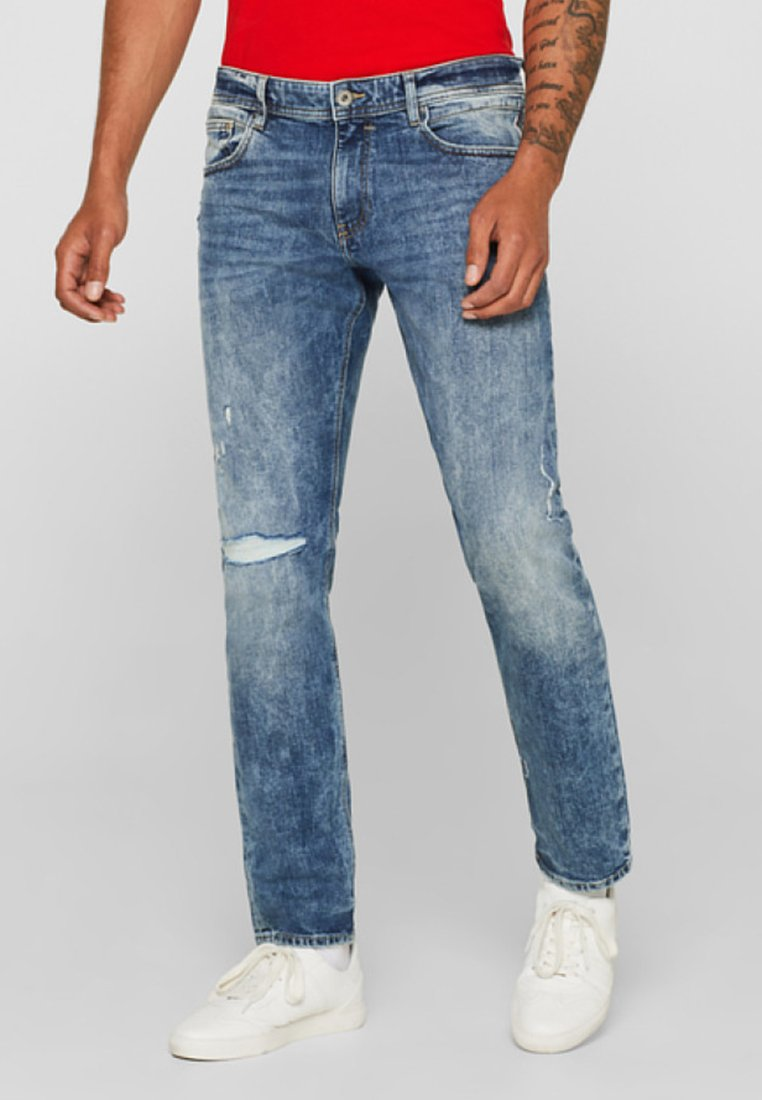 edc by Esprit - MIT DESTROYED - Jeans Straight Leg - blue light