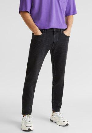 MIT WASHED OUT-EFFEKT - Slim fit jeans - black medium washed