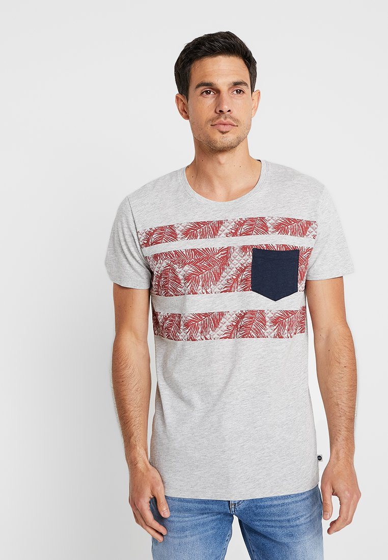 edc by Esprit - PLACED STRIPE - Print T-shirt - light grey