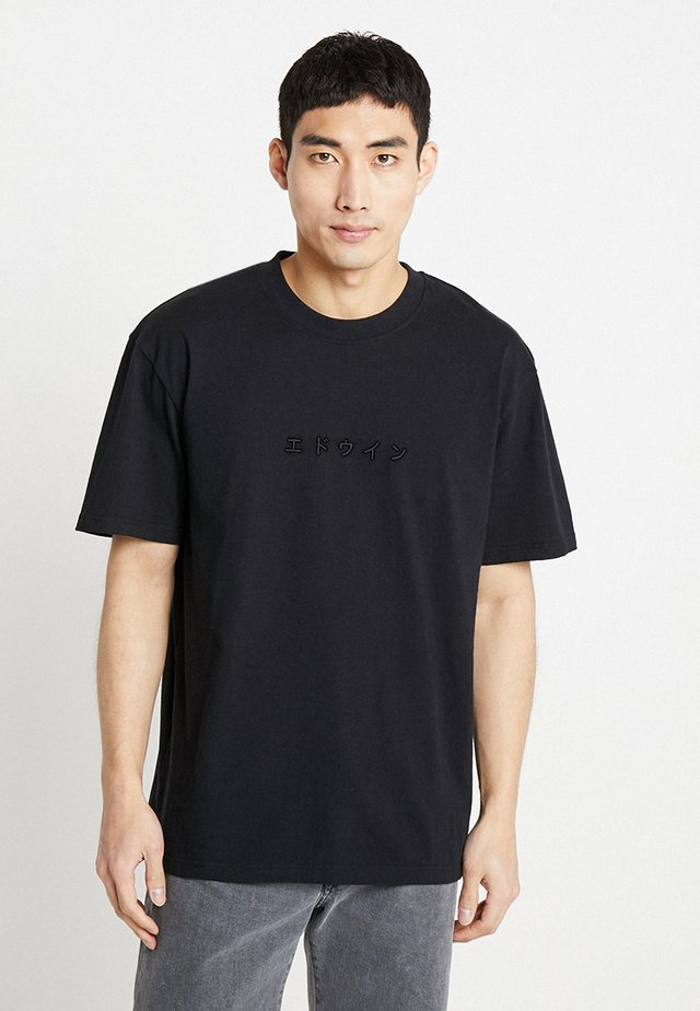 KATAKANA EMBROIDERY  - T-shirt - bas - black