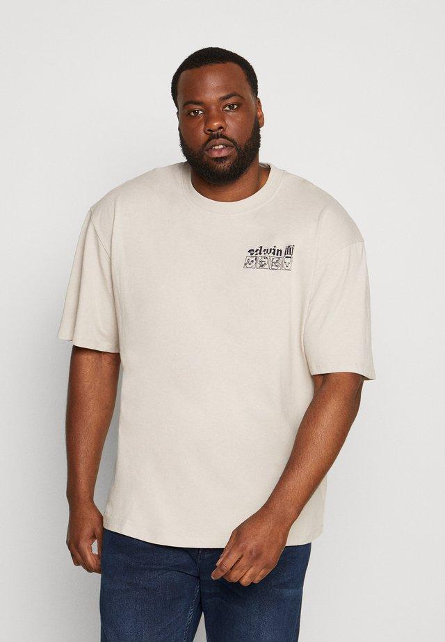 HOKUSAI NOH MASKS - T-shirt print - silver cloud