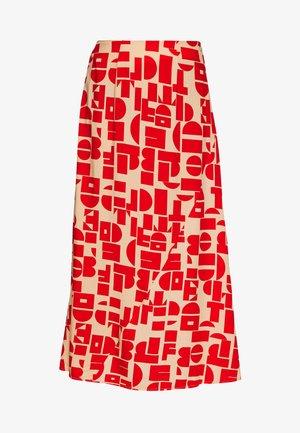 KARLI SKIRT - A-line skirt - beige/rot