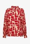 EMINA BLOUSE - Button-down blouse - beige/rot