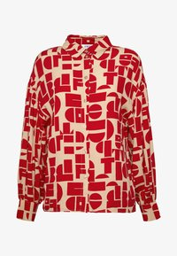 EDITED - EMINA BLOUSE - Button-down blouse - beige/rot - 3