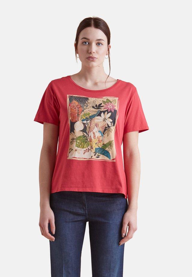 MIT AUFDRUCK - Print T-shirt - rosso