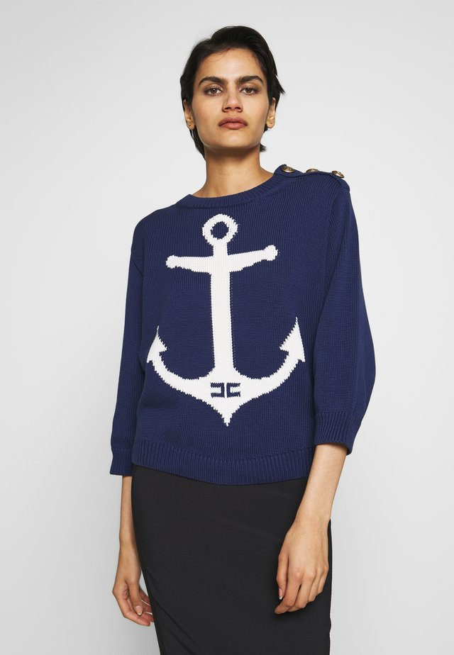 Jersey de punto - blu navy/burro