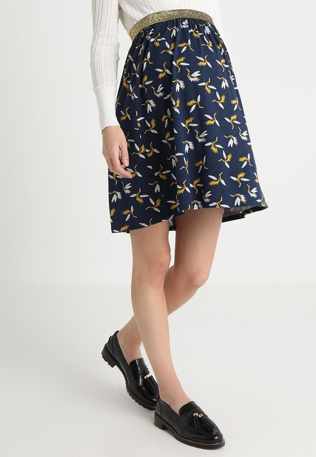 BRUNETTE - Spódnica trapezowa - navy blue/yellow