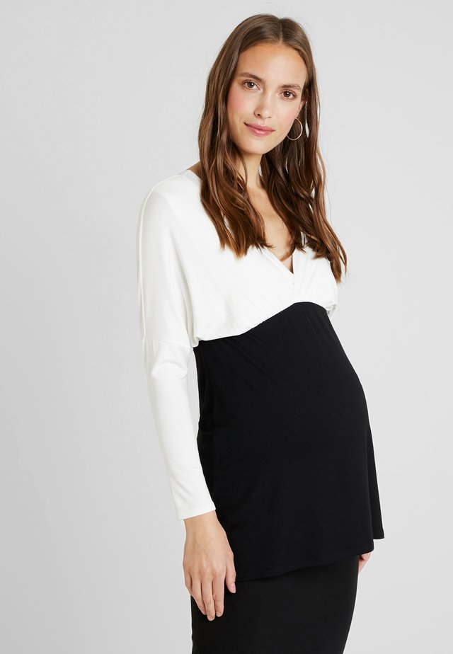 MAELE - Maglietta a manica lunga - off white/black