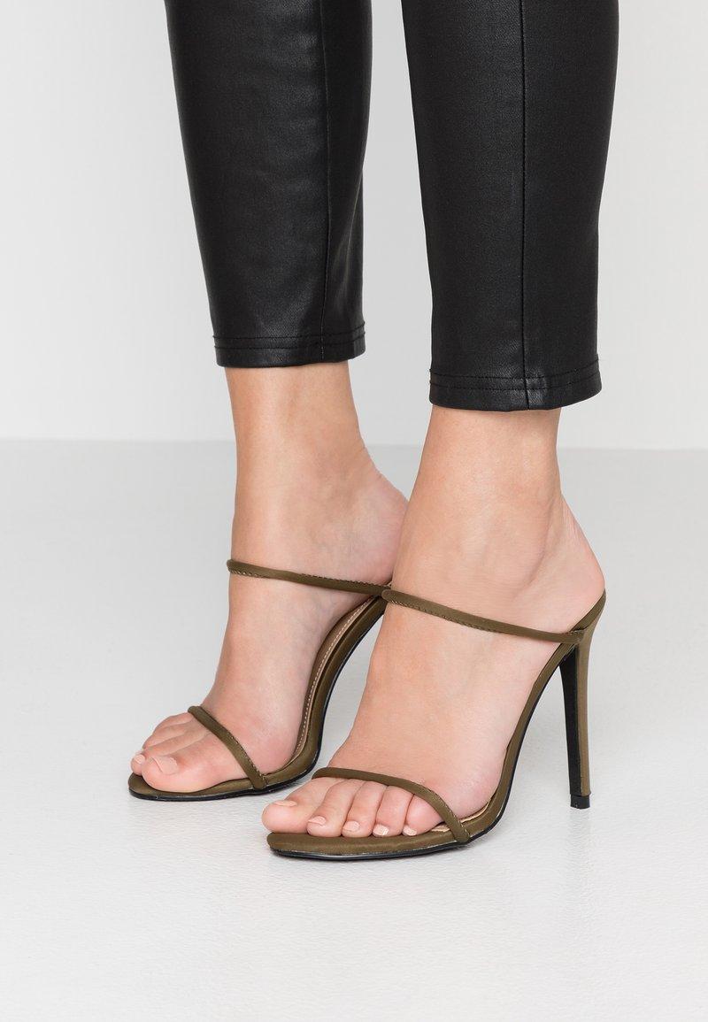 EGO - HELIX - Pantofle na podpatku - khaki