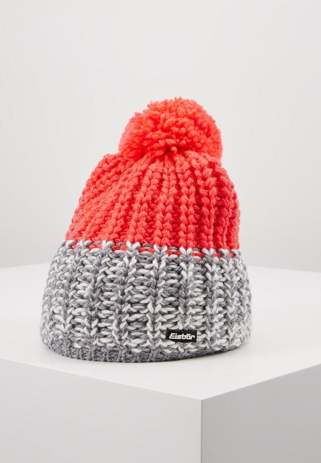 FOCUS POMPON - Bonnet - graumeliert/white/divapink