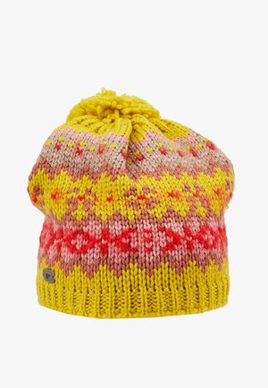 WENTJE POMPON - Beanie - senf/indiared/rosa/corallrot
