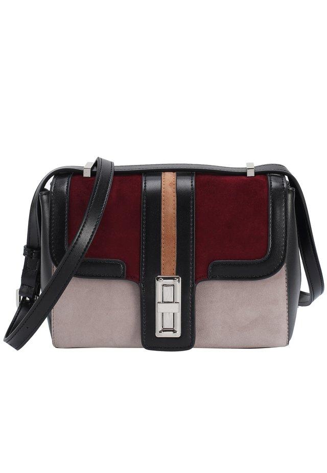 Handtasche - schwarz-bordeauxrot-grau