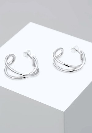 CREOLEN HÄNGER KREUZ KNOTEN GEO BASIC - Øreringe - silver-coloured