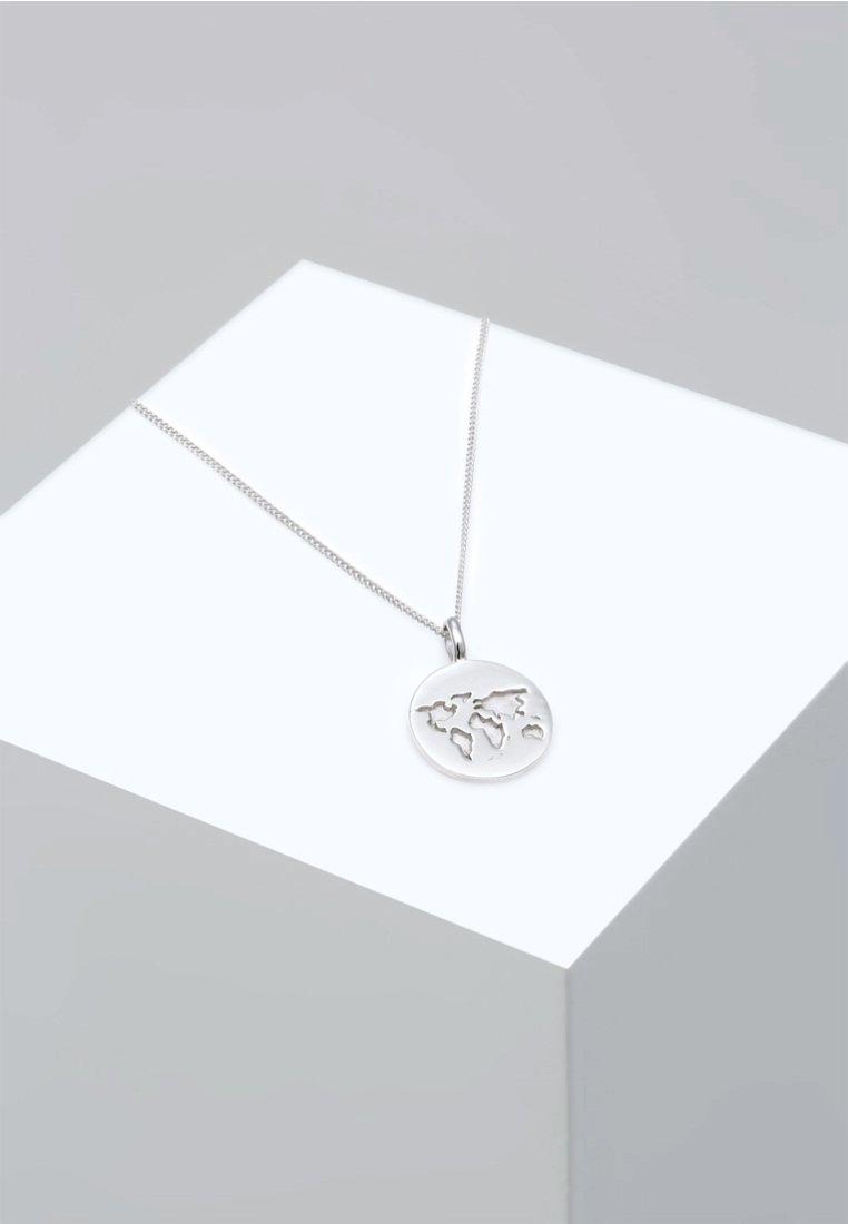 Elli - WELTKUGEL PLÄTTCHEN ANHÄNGER REISEN  - Collier - silver