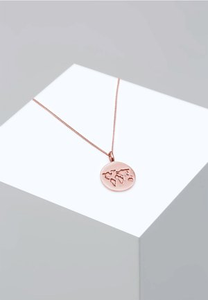 WELTKUGEL PLÄTTCHEN ANHÄNGER REISEN  - Kaulakoru - rose gold