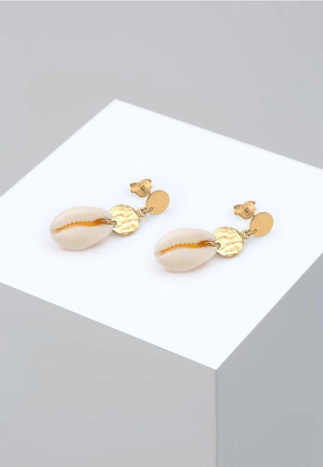 HÄNGER KAURI MUSCHEL MEER PLÄTTCHEN - Earrings - gold
