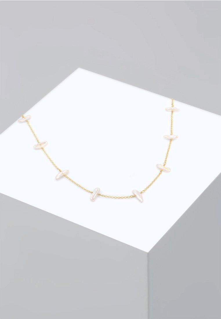 Elli - SÜSSWASSERZUCHTPERLE BAROCK NATUR EDEL  - Necklace - gold-coloured
