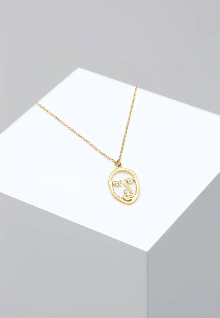 Elli - ERBSKETTE TWINKLE FACE DESIGN ANHÄNGER  - Halskette - gold-coloured