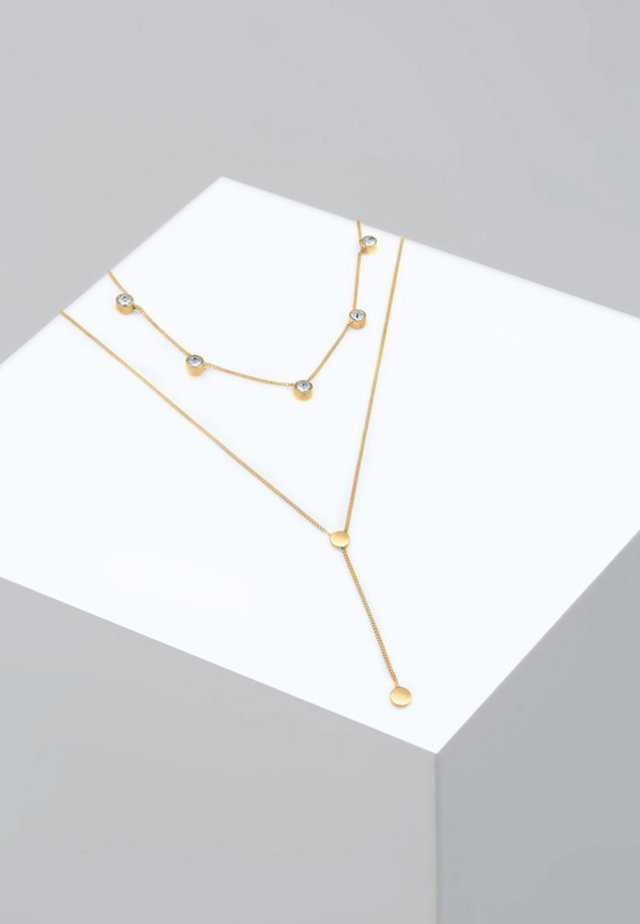 Plättchen Layer  Kristalle  - Necklace - gold-coloured