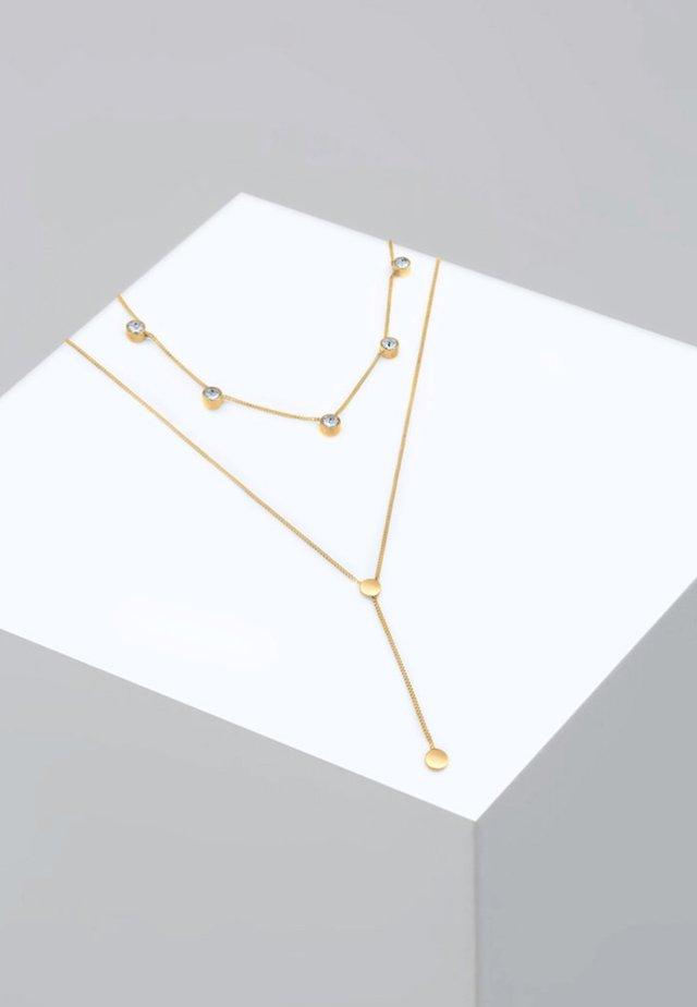 Plättchen Layer  Kristalle  - Halsband - gold-coloured