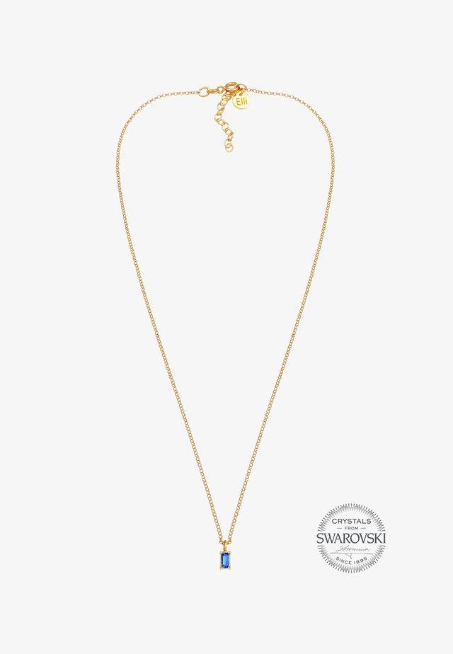 CHOKER SOLITÄR SWAROVSKI® KRISTALL BLAU 925 SILBER - Halsband - gold