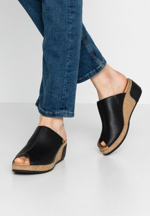 LEAVES VEGAN - Heeled mules - black