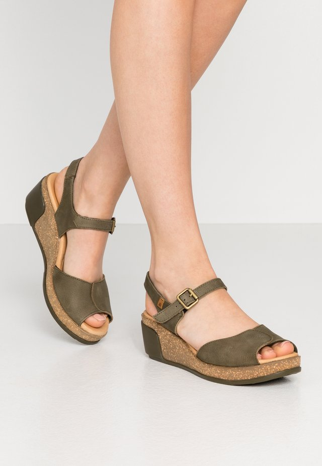 LEAVES - Platform sandals - kaki