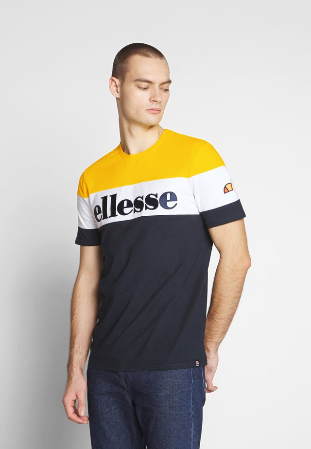 PUNTO - T-shirt con stampa - navy/yellow