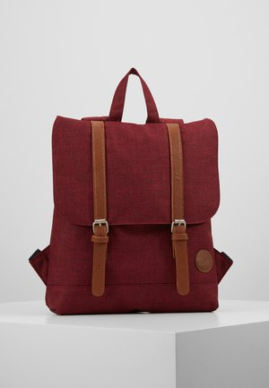 CITY BACKPACK MINI FRONT STRAPS - Reppu - melange wine red/tan