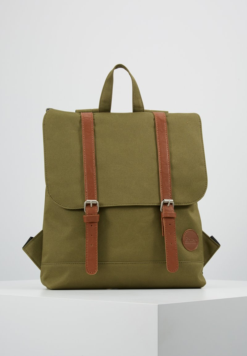 Enter - CITY BACKPACK MINI FRONT STRAPS - Reppu - army green/tan