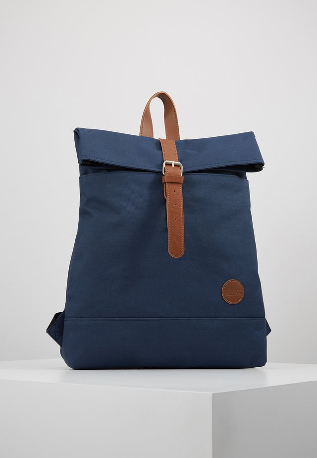 FOLD TOP BACKPACK - Rucksack - navy/tan