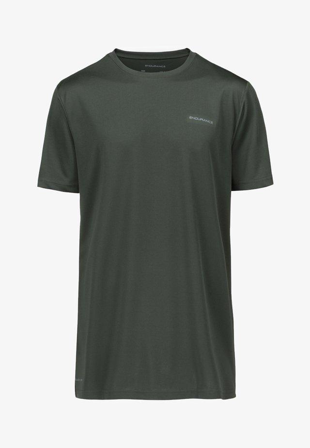 MIT REFLEKTIERENDEM PRINT - Basic T-shirt - green