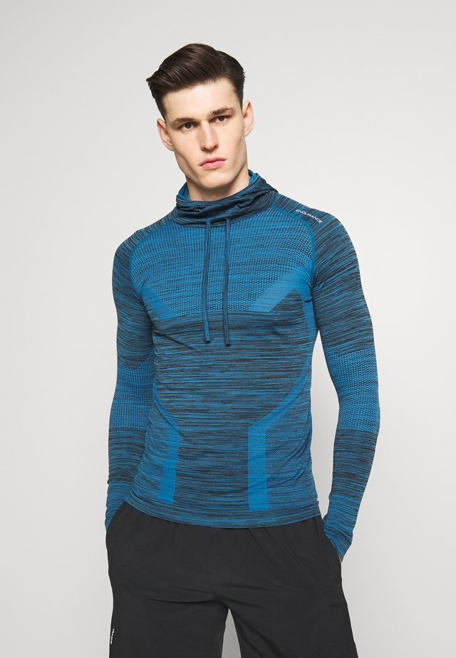 KEDERO MELANGE SEAMLESS HOODY - Sports shirt - imperial blue