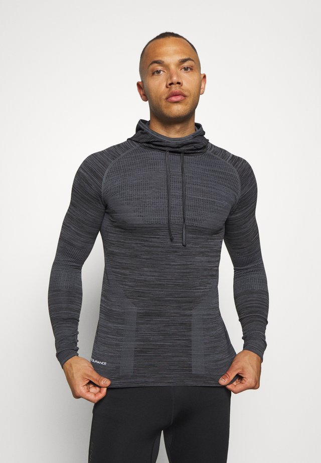 KEDERO MELANGE SEAMLESS HOODY - Sports shirt - black melange
