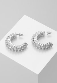 ERASE - DOMED TEXTURED HOOP - Earrings - silver-coloured - 0