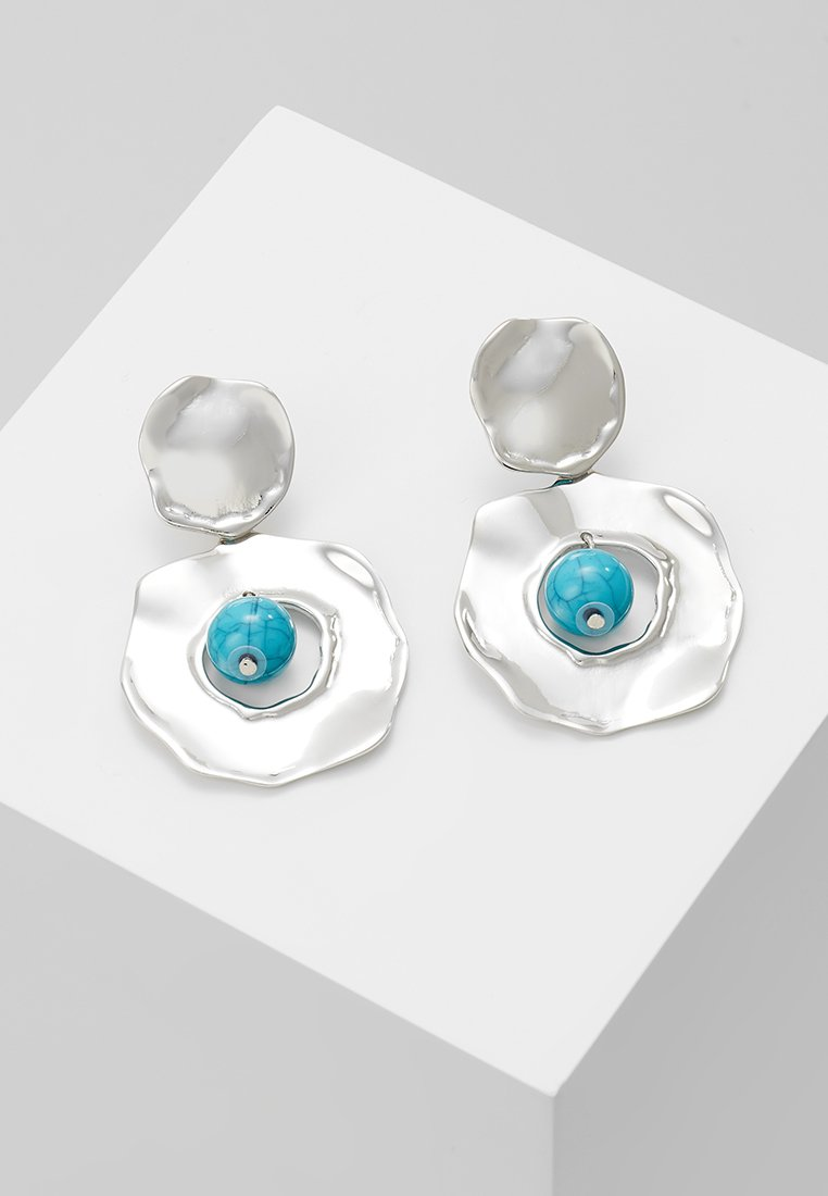 ERASE - HAMMERED OPEN DROP - Earrings - silver-coloured