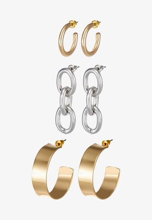 HOOP AND LINK 3 PACK - Earrings - gold-coloured/silver-coloured