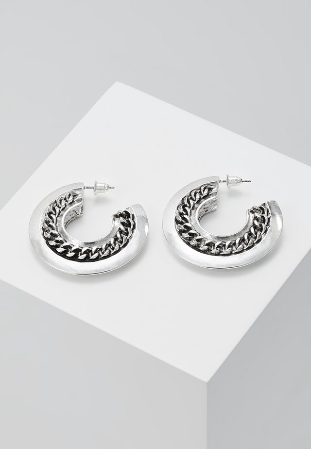 CHAIN HOLLOW HOOPS - Øreringe - silver-coloured