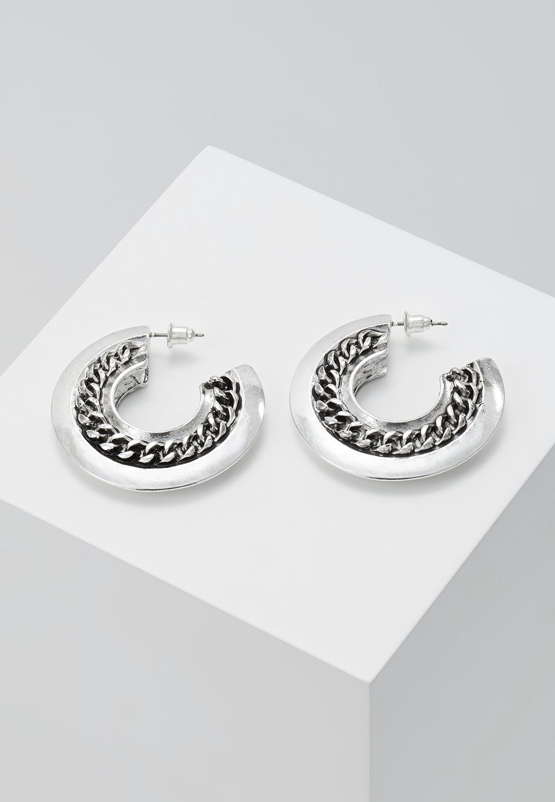 ERASE - CHAIN HOLLOW HOOPS - Oorbellen - silver-coloured