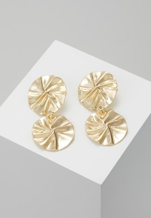ORGANIC DOUBLE CIRCLE DROP EARRINGS - Náušnice - gold-coloured