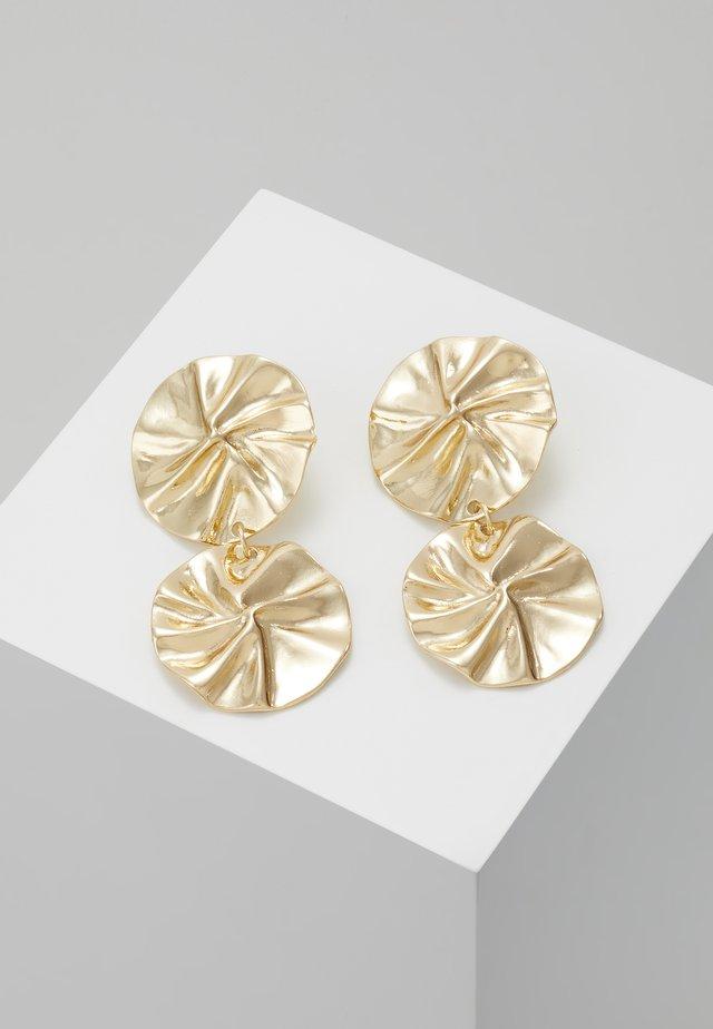 ORGANIC DOUBLE CIRCLE DROP EARRINGS - Earrings - gold-coloured