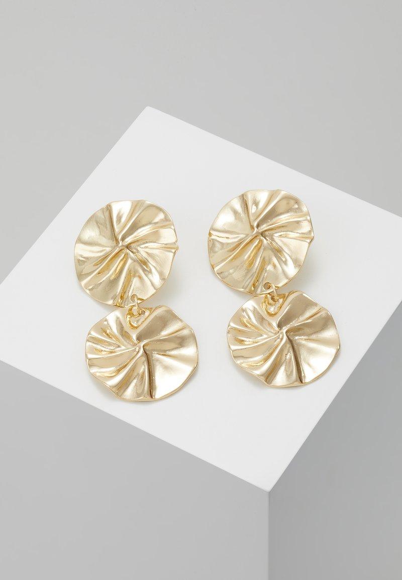 ERASE - ORGANIC DOUBLE CIRCLE DROP EARRINGS - Ohrringe - gold-coloured