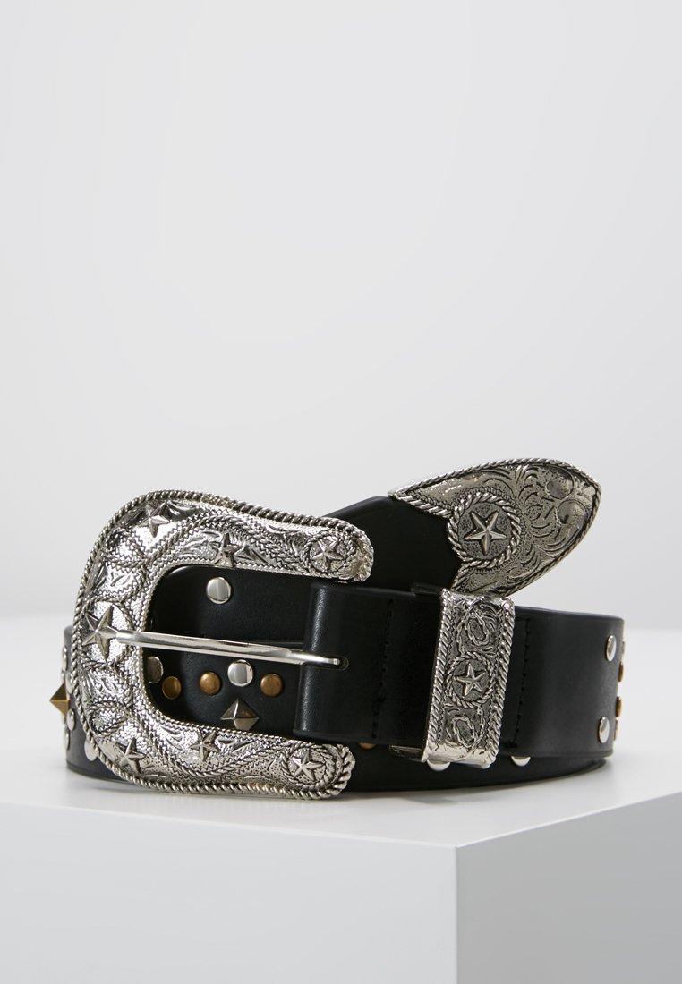ERASE - WESTERN STUDDED BELT - Belt - black/silver-coloured
