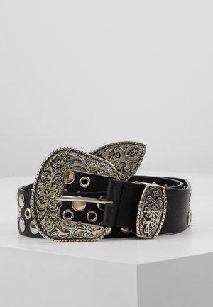 WESTERN BUCKLE BELT - Cinturón - black/silver-coloured