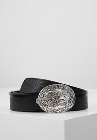 ERASE - EAGLE PLATE BUCKLE BELT - Cinturón - black/silver-coloured - 0