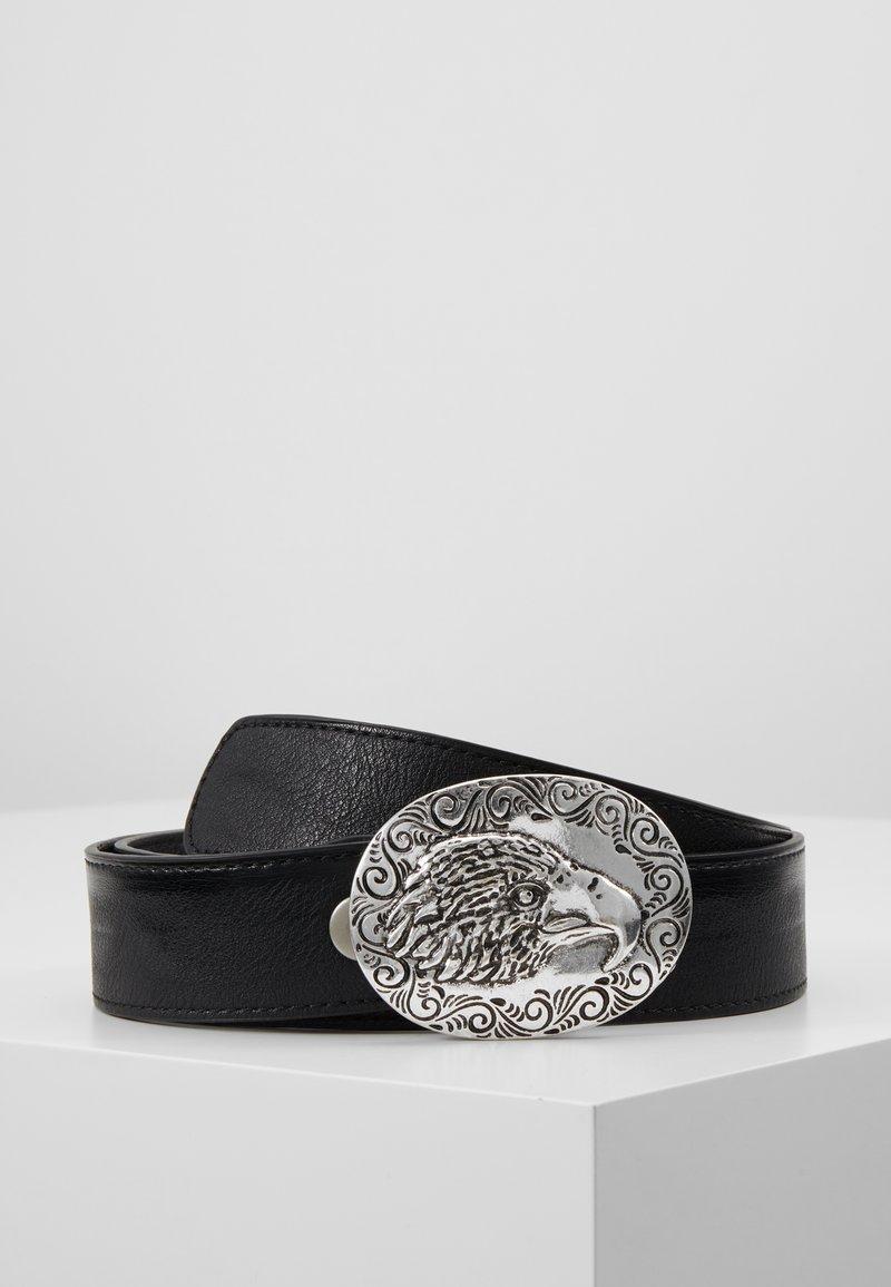 ERASE - EAGLE PLATE BUCKLE BELT - Cinturón - black/silver-coloured