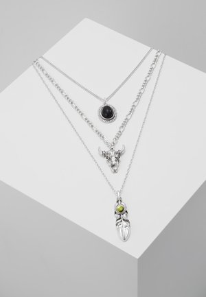 FEATHER & RAM MULTIROW - Necklace - silver-coloured